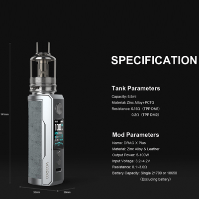 Voopoo-Drag-X-Plus-Kit-Specification