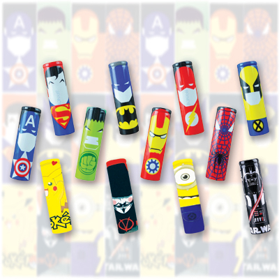 Battery Wraps Characters Assorted - 100 Pack